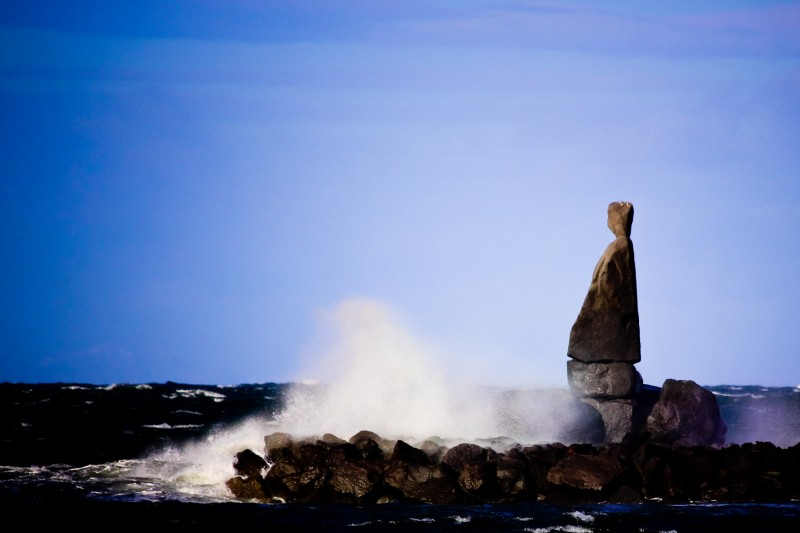 Iceland Lone Viking rock sculpture watches over the North Atlantic